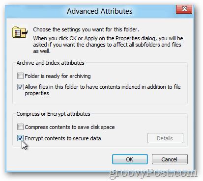 Windows 8 Advanced Properties - Enable EFS
