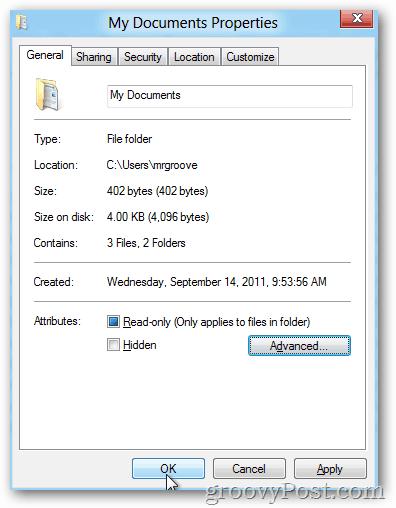 Windows 8 Advanced Properties - OK to save