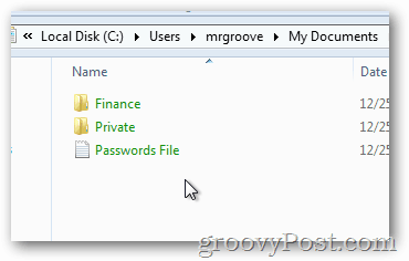 All subfolders and files are green - efs encrypted
