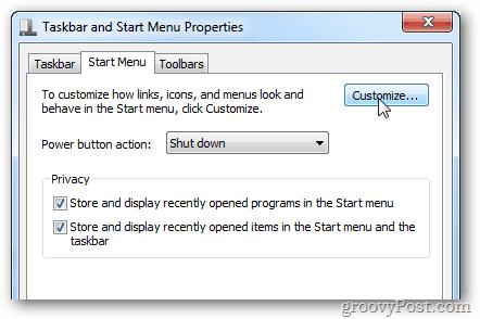 start menu customization