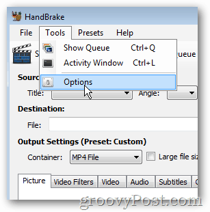 handbrake tools options