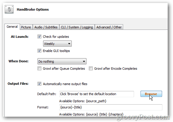 handbrake options browse