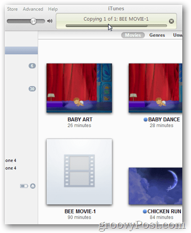 copy movie into itunes