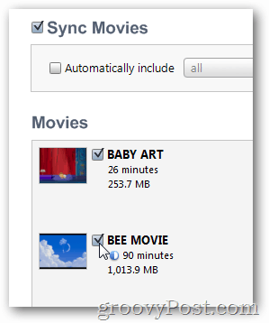 choose movie to sync