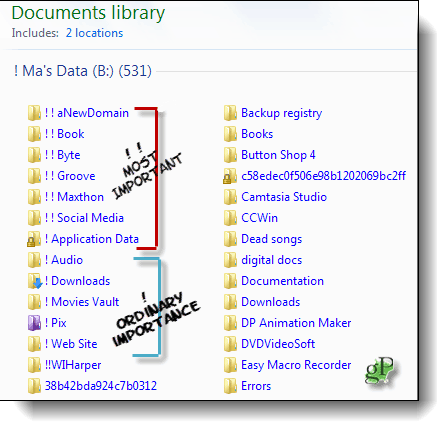 Some important files are more important than others. Mark those with double exclamation points.