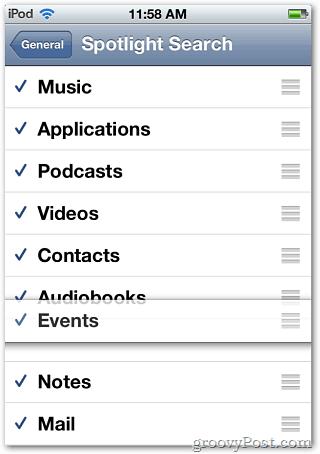 Spotlight Categories iPod