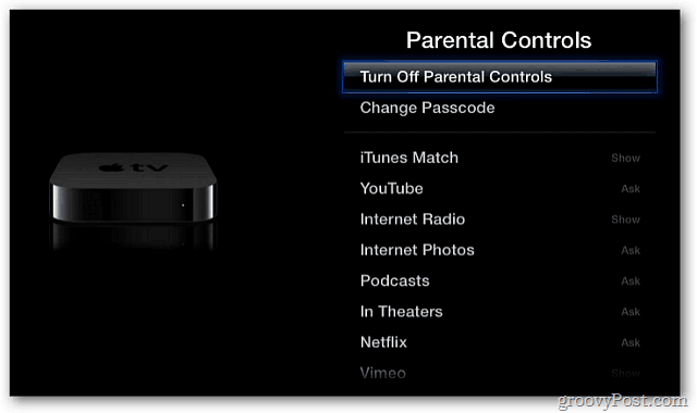 Turn off Parental Controls