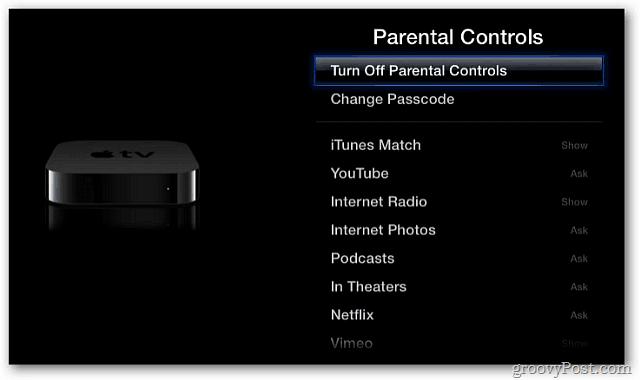 Turn off Parental Controls