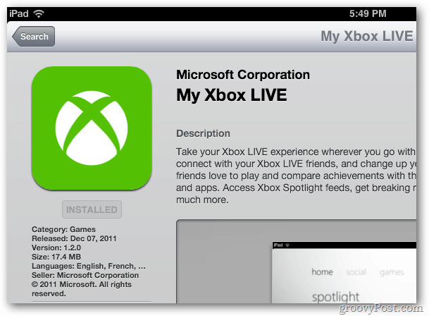 My Xbox Live App for the iPhone, iPad and iPod touch