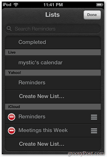 New Reminders List