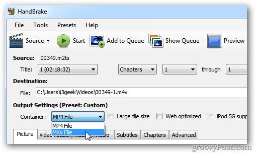 HandBrake Output Settings