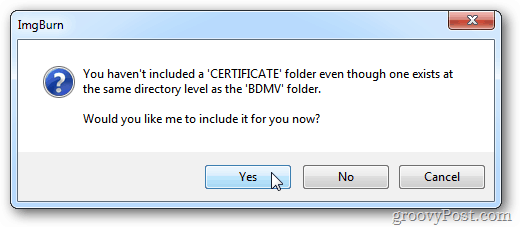 ImgBurn Certificate Message