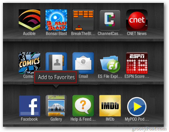 Kindle Fire Add to Favorites