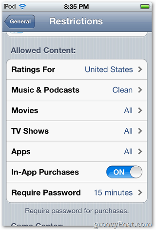 Restrictions iPod touch