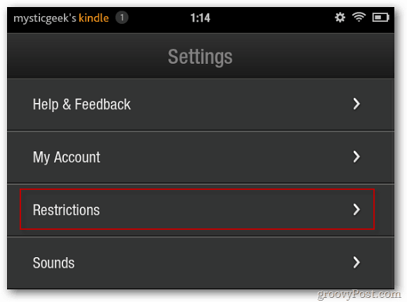 Kindle Fire Settings