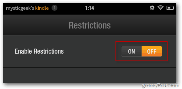 Kindle Fire Enable Restrictions
