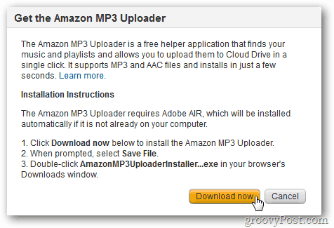Install Amazon MP3 Uploader