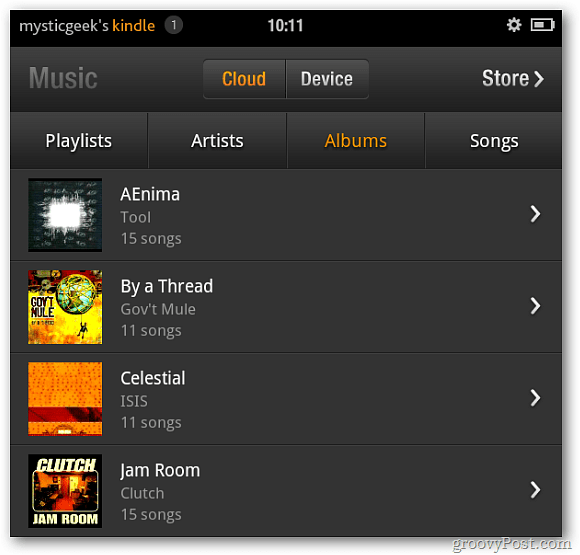 Kindle Fire Music from Cloud Player