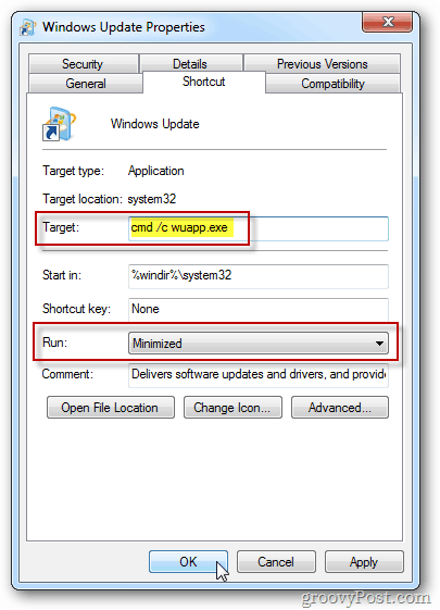Windows Update Properties