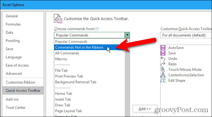 Select Commands Not in the Ribbon on the Excel Options dialog box