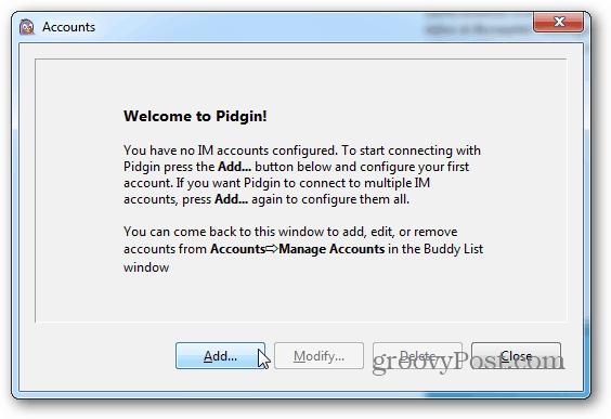 Add Pidgin Account