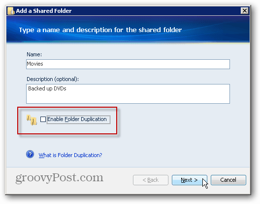 Folder Duplication Setting