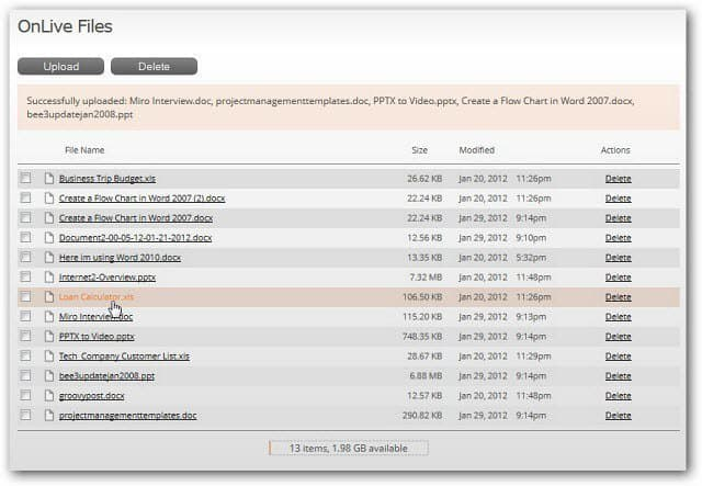 List uploaded files