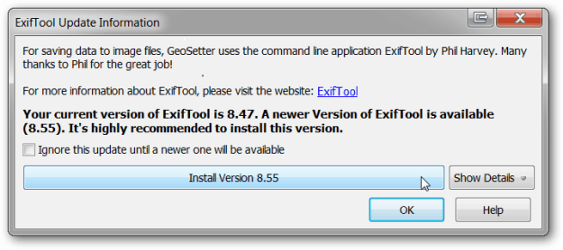 Geosetter ExifTool Update