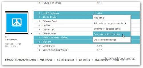 google music download selected songs web