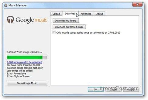 google music download tab
