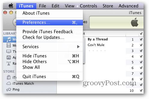 iTunes Mac Preferences