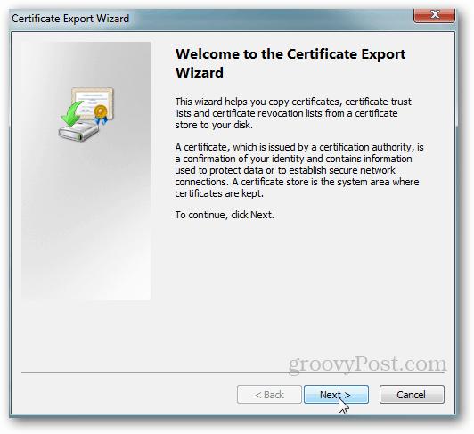 Windows Certificate Export