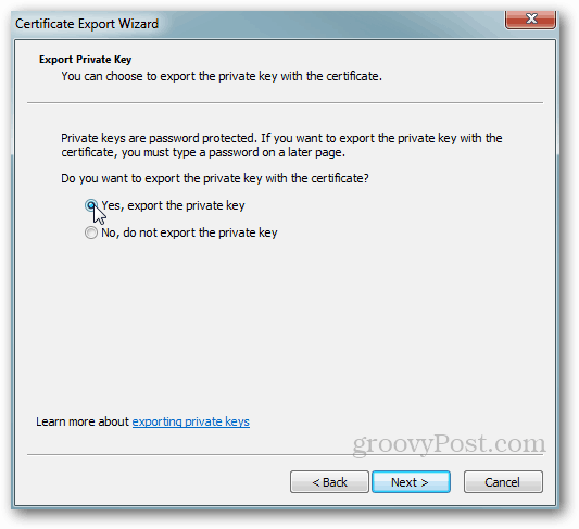 Windows Certificate Export - Private Key Yes