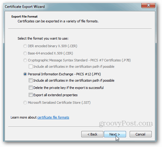 Windows Certificate Export - Accept Defaults