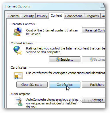 IE9: Internet Options Content Tab, Certificates