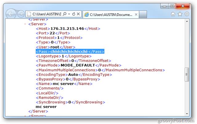 Filezilla username and passwords