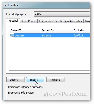IE9 - Export EFS Certificate