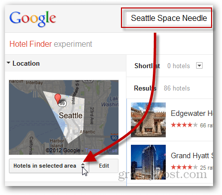 google hotel finder click location filter