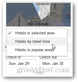 google hotel finder hotels by travel time