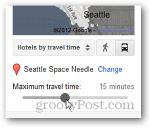 google hotel finder max travel time