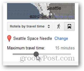 google hotel finder max travel time