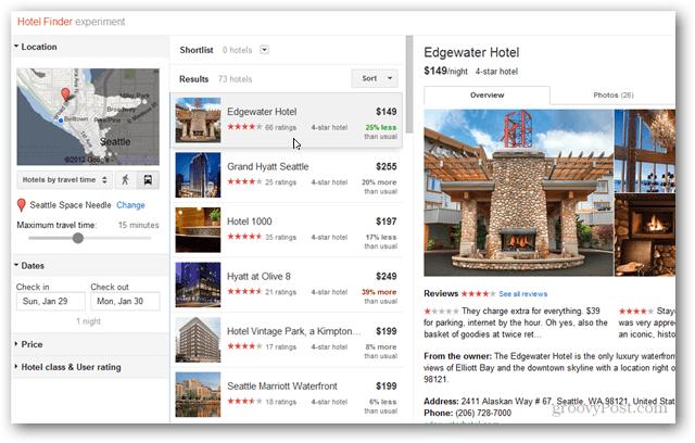 google hotel finder hotel selection