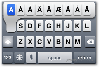 iphone ipad keyboard shortcuts A Accents