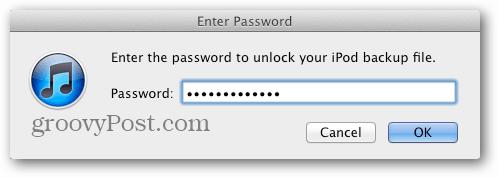restore password
