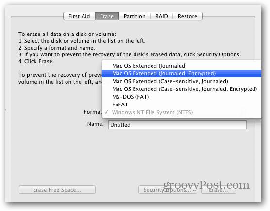Disk utility Erase