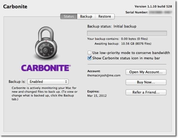 Carbonite Preferences