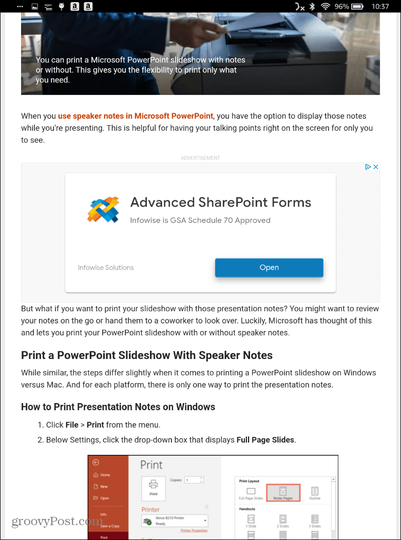 Normal sized text fire HD Silk Browser