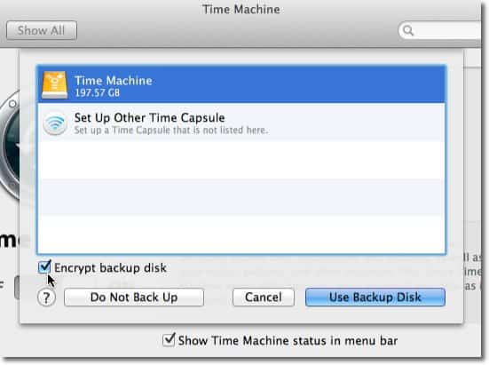 Select Drive for TimeMachine Use