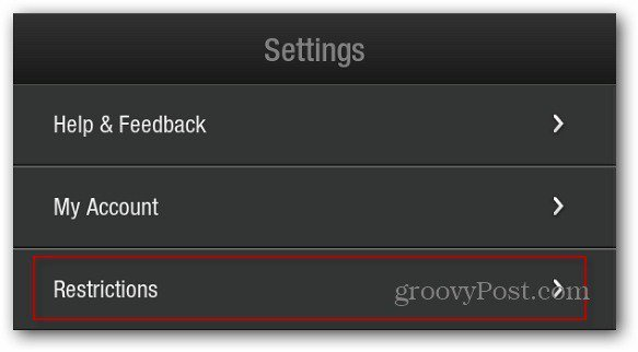 Settings Restrictions