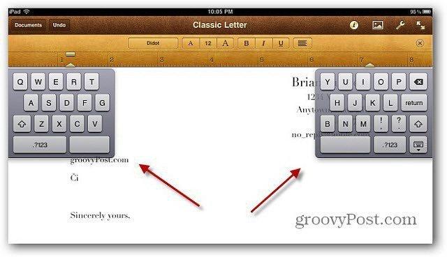 Split Keyboard ipad